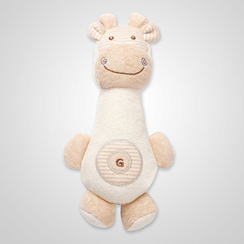 Cottonbebe Organic Natural Squeaky Rattle Toy Baby Soft Toys Stuffed Toys With DuPond Sorona For Toddle and newborn baby (Giraffe)