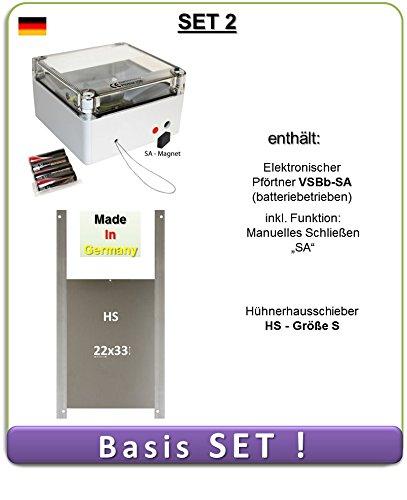 SET 2 - Automatische Hühnerklappe mit Batterien, Außenmontage, manuelles Schließen, Hühnerklappe AXT-Electronic