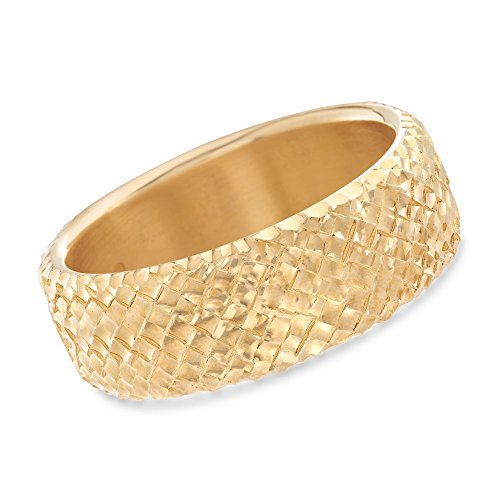 (Ross-Simons Italian Andiamo 14kt Yellow Gold Basketweave Bangle Bracelet)