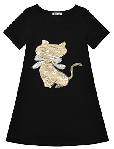 Jxstar Big Girls Angel Cat Sequin Soft Cotton Short Sleeve T-Shirt Dress Angel Cat 150]()