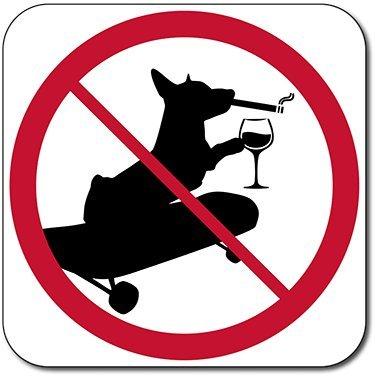 NO DOGS, SKATEBOARDING, SMOKING OR ALCOHOL SIGN - (Smoking Dog)
