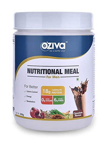 OZiva Nutritional Meal, Men, High Protein Meal Replacement Shake with Ayurvedic Herbs (Chocolate,16 Servings), 0g added Sugar