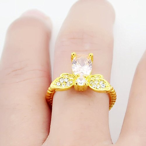 Dwcly Gold Tone Queen Bee Honeybee Ring Clear Cubic Zircon Bumble Bee Stacking Band Ring Adjustable Size