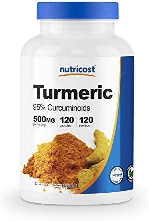 Nutricost Turmeric Curcumin with BioPerine 95 Curcuminoids 120 Capsules, 500mg Per Cap, Gluten Free, Non-GMO