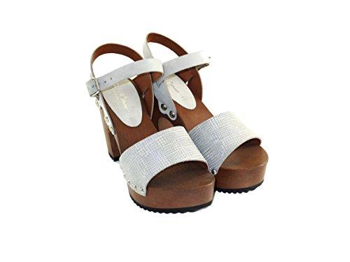 mujer Shoes Zuecos Silfer taglia gris para Piel de unica gris XBvUq