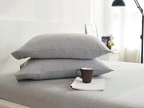 Household 100% Jersey Cotton Queen Size Pillowcase 20x30-Light Weight, Comfortable, Extremely Durable Set of 2 (Grey)