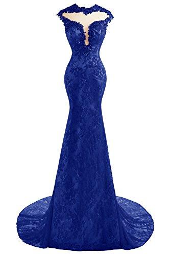Dentelle Sexy Sirène Bess Femmes De Mariée Perles Longues Robes De Soirée De Bal Bleu Royal