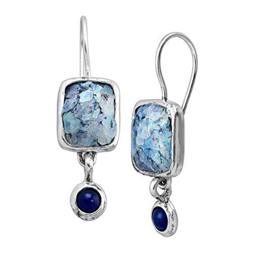 Silpada 'Pistoria' Roman Glass & 1/5 ct Natural Lapis Drop Earrings in Sterling Silver