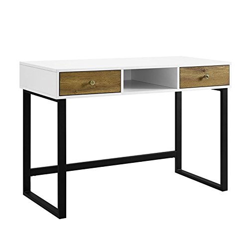 """44"""" Modern Two-Tone Desk with Drawers- White and Barnwood"""