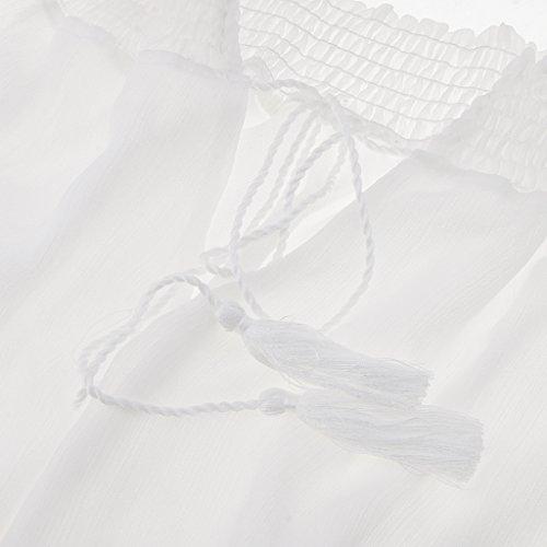 Manche Plage Mousseline À Volants Boho De Femmes Prettyia Ballon Au Large De L'épaule Mini-soirée Sundress Robe Courte Robe Blanche