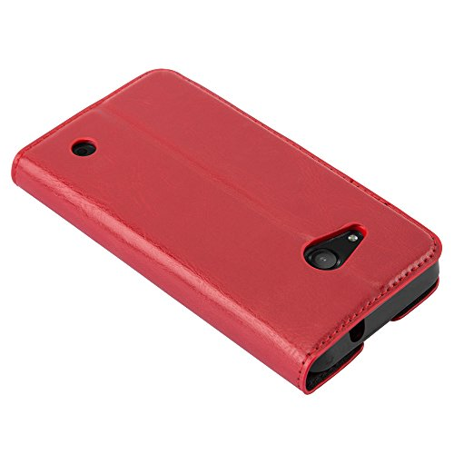 Cadorabo Case works with Nokia Lumia 550 Book Case in APPLE RED (Design INVISIBLE CLOSURE) – with Magnetic Closure, Stand Function and Card Slot – Wallet Case Etui Cover PU Leather by Cadorabo (Image #6)