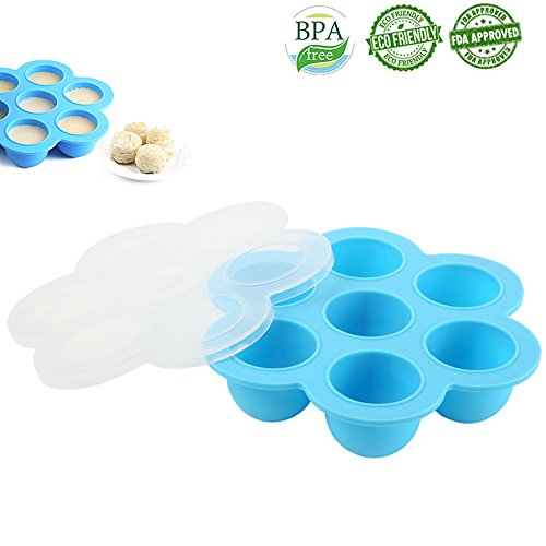 Egg Bites Molds Silicone Food Freezer Tray Reusable Storage Container for Instant Pot Accessories Round Cupcake pan Fits Instant Pot 5,6,8 qt Pressure Cooker-Blue (Egg Cupcake)