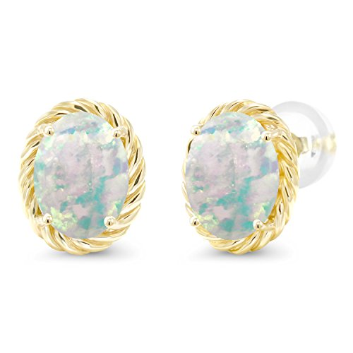 Gem Stone King 2.10 Ct Oval Cabochon 8x6mm White Simulated Opal 14K Yellow Gold Twist Stud Earrings