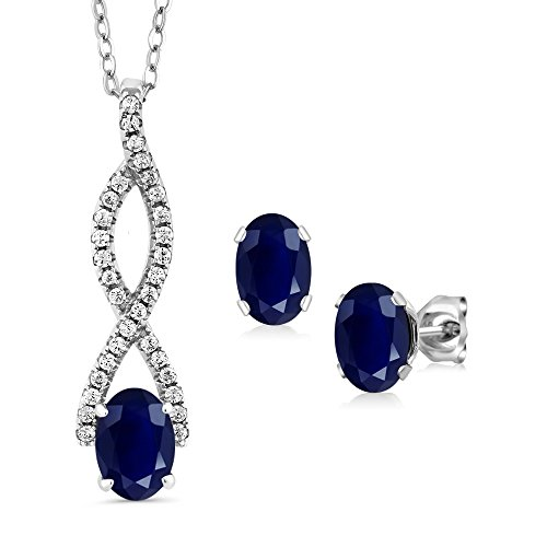 3.44 Ct Oval Blue Sapphire 925 Sterling Silver Infinity Pendant Earrings (Oval Sapphire Pendant Set)