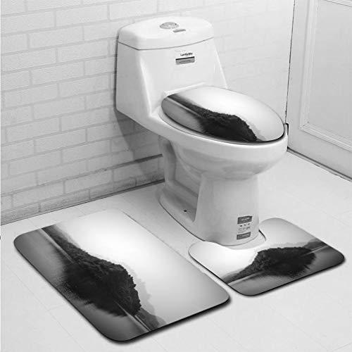 - MTSJTliangwan 3-Piece Bathroom Set, Bathroom Rug + Contour pad + lid Toilet seat, Multiple Exposure of Natural Landscape with Reflection Comfortable Flannel Rug
