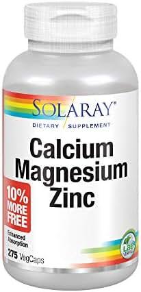 Solaray Calcium, Magnesium, Zinc | Healthy Bones, Teeth, Nerve, Muscle, Heart & Immune Support | 68 Serv | 275 VegCaps