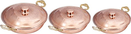 3 x Traditional Handmade Copper Pan Cooker, Omlette Pan, Saute Pan, Sauce Pan with Lid, Stewpot-Small 7.5
