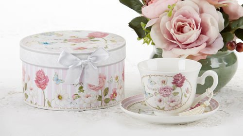 Delton Products Pink Grace Pattern Porcelain Tea Cup and Saucer with Gift -