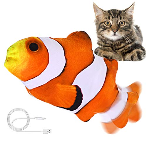 """Jeteven 12"""" Moving Fish Cat Toy, Floppy Fish Cat Toy, Catnip Toys, Realistic Plush Electric Wagging Fish Cat Toy, Funny…"""