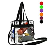 BeeGreen Stadium Clear Bags w Front Pocket and Shoulder Carry Handles, NCAA NFL & PGA Security Approved Travel & Gym Vinyl Zippered Tote Bag (Messenger)