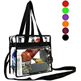 Stadium Clear Bags w Front Pocket and Shoulder Carry Handles, NCAA NFL & PGA Security Approved Travel & Gym Vinyl Zippered Tote Bag(Black,Red,Maroon,Purple,Orange,Lime)