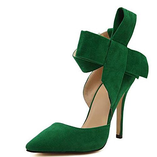 35 Da Bello Verde Donna Reyna Robert Farfalla Papillon Grande Consiglia Di Pompe Bowknot Alti Scarpe Sottolineato Tacchi Donna Nozze qTxYUE