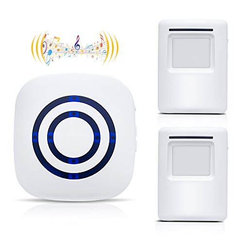 WONYERED Motion Sensor Alarm Wireless Doorbell Shop Store Alarm Home Security Driveway Alarm with 1 Receiver and 2 Sensor 38 Chime Tunes Home Security Systems