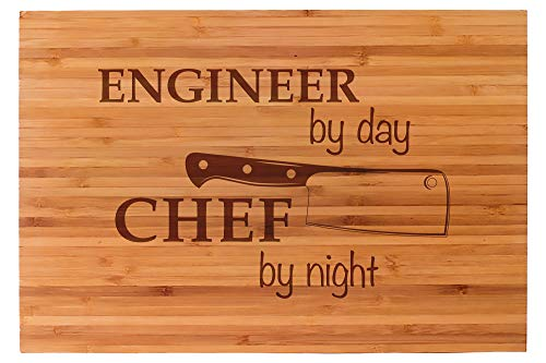 """Engineer By Day Engraved Cutting Board, 15"""" x 10"""", Unique Gift For Engineers, Premium Bamboo Cutting Board, Great Christmas Gift Idea"""
