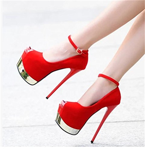 Womens Xianshu Nightclub Party Chaussures Sexy Pompes Fish Heels Stiletto Single High Suede Rouge Boca da6qa