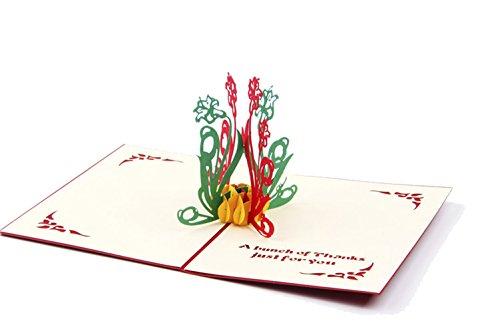 Genluna 3D Pop Up Hollow Paper-Cut Handmade Creative Artistic Greeting Cards Free Yellow