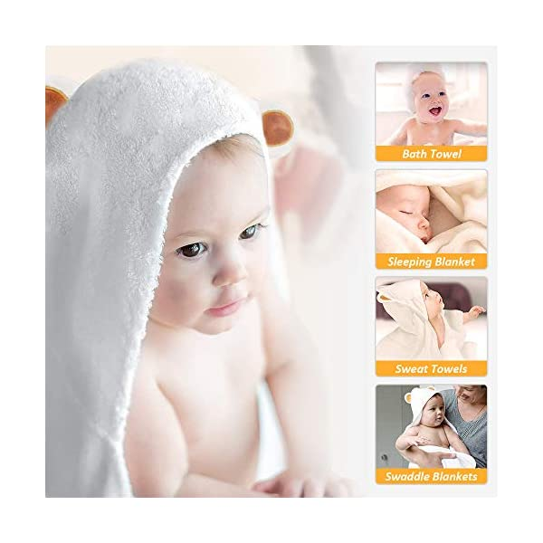 LATTCURE Accappatoio Neonato, Telo da Bagno Asciugamano per Bambini con Cappuccio Animale in Fibra di Bambù 90x90cm… 4