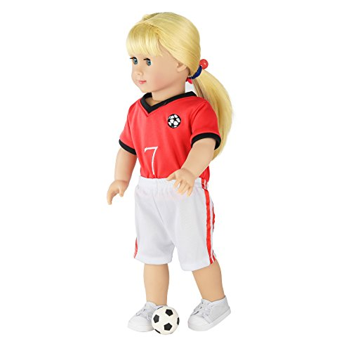 Accessories Football American (WWS Toy - Doll Clothes and Accessories For 18 inch Dolls Such as American Girl Doll Accessories,Football Set - X1 Soccer Jersey, X1 Soccer Short, X1 Canvas Shoes, and X1 Mini Soccer Ball)