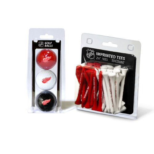 Team Golf NHL Detroit Red Wings Logo Imprinted Golf Balls (3 Count) & 2-3/4 Regulation Golf Tees (50 Count), Multi Colored
