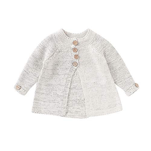 Toddler Baby Girls Coats Fall Winter Kid Baby Girl Cloak Button Jacket Knitted Sweater Cardigan Baby Outwear Clothes (Grey, 5-6T)