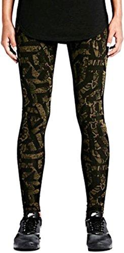 Nike Womens Seamed Printed Athletic Leggings Green S