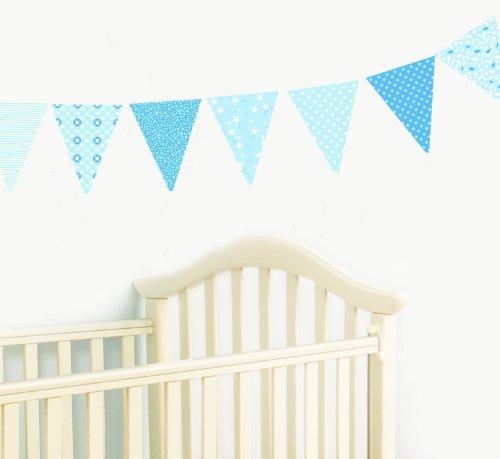 Funtosee Nursery Pennant Wall Decals, Blue