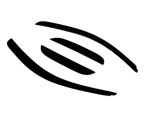 (TuningPros LP-050 Low Profile Window Visor Deflector Rain Guard Dark Smoke 4-pc Set)