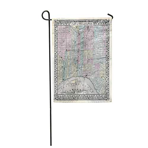 (Tarolo Decoration Flag Vintage 1870 Antique Map of Philadelphia Old Historic 1776 Pennsylvania City Thick Fabric Double Sided Home Garden Flag 12