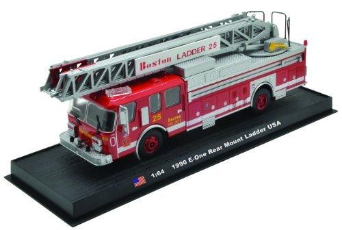 E-One Rear Mount Ladder Boston Fire Truck 1990 Diecast 1:64 Model (Amercom GB-15) - Boston Ladder