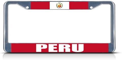 PERU PERUVIAN FLAG BLACK COUNTRY Metal License Plate Frame Tag Holder