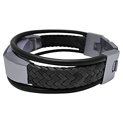 Fitbit Alta Band Aurel 2- BLACK - stainless steel and real leather - Jewelry for Fitbit Alta - Fitbit Alta Band - Fitbit Alta Accessories - Fitbit Alta Leather Band (No Tracker)