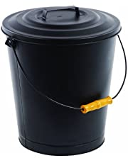 Pleasant Hearth 614 Fireplace Ash Bucket with Lid, Black