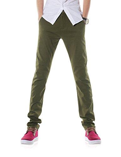 Demon&Hunter 910X Slim-Fit Series Men's Stretch Casual Pants DH9106(30)Green - Corduroy Trousers