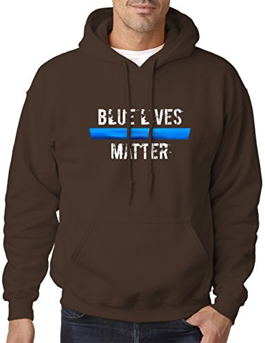 - BBT Adult Blue Lives Matter Metallic Foil Hooded Sweatshirt Hoodie XL Dark Chocolate