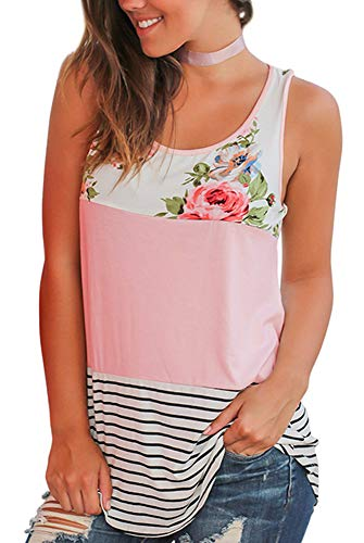Westlsland Tank Tops for Women Shirts Sleeveless Floral Print Stripe Tank Tops Long Pink L