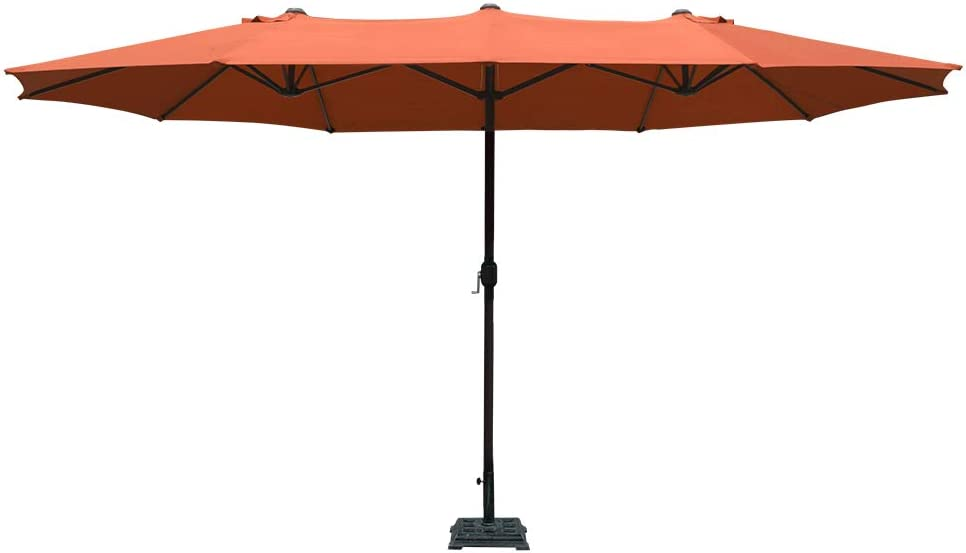 COBANA 15 ft Market Outdoor Umbrella, Extra Large Double-Sided Aluminum Table Patio Umbrella with Crank, Brick Red