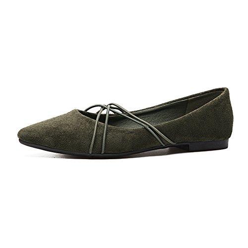 Scarpe Da Donna T-july Per Donna Casual Slip On Punta A Punta Comfort In Pelle Scamosciata Balletto Verde