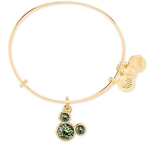 - August Birthstone Mickey Mouse Icon Disney Alex and Ani Bangle Bracelet (Gold)