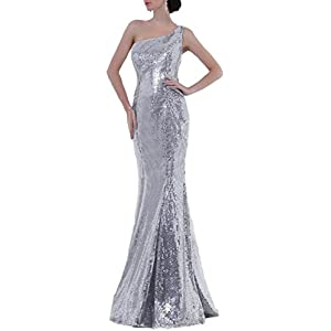 OYISHA Womens One Shoulder Long Sequined Evening Dress Prom Dresses Formal SQ110