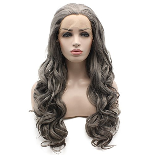 Iewig Long Wavy Half Hand Tied Heat Friendly Wig Synthetic Lace Front Gray Wig